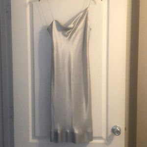 Angelic DKNY Cami Slip Dress in Silver Silk 4